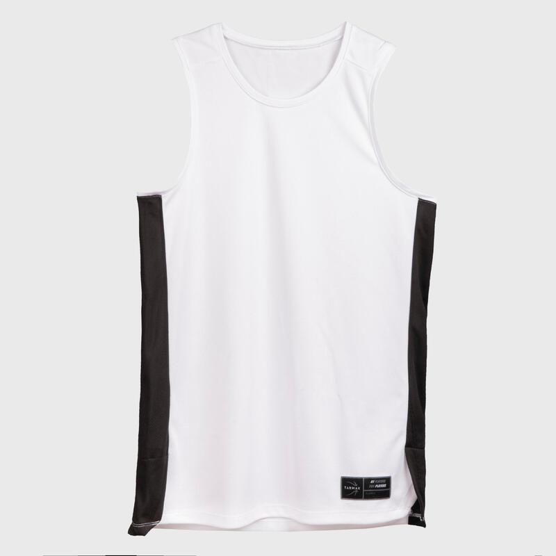 Mouwloos basketbalshirt voor heren T500 wit
