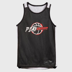 Kids' Reversible Sleeveless Basketball Jersey T500R - Black/White Playground