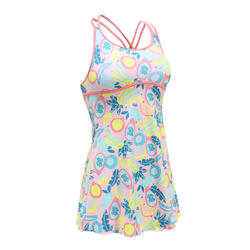 女款一件式連身裙泳裝Riana - 粉紅色滿版水果圖案