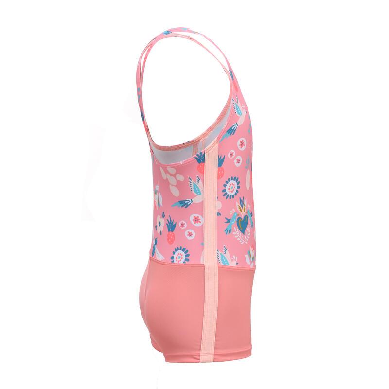 ชุดว่ายน้ำวันพีซขาสั้น (สีชมพู Coral)