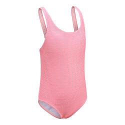 女嬰款連身泳裝 - 粉紅色條紋圖案