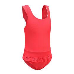 女嬰款連身迷你裙泳裝 - 紅色