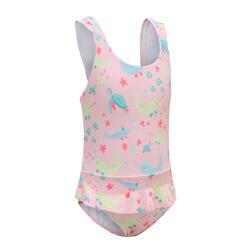 女嬰款連身迷你裙泳裝 - 粉紅色動物圖案