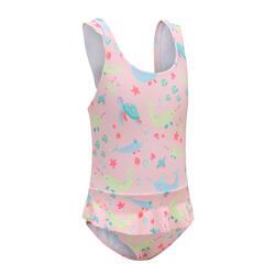 Baby Girl's One-Piece Swimsuit Miniskirt - Pink Animal Print