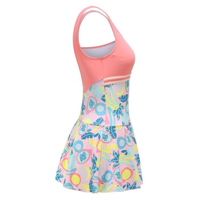 女款連身短裙泳裝HEVA-L ALL FRUTS - 粉紅色