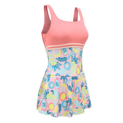 Women's Swimming One-Piece Shorty Swimsuit HEVA-L SKIRT ALL FRUTS - PINK