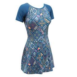 女款短袖連身泳裝UNA All Lejo藍色