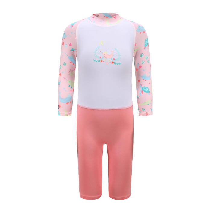 Baby / Kids' Swimming Long Sleeve UV-Protection Suit - Pink Print