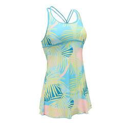 女款一件式連身裙泳裝Riana-水藍色滿版索拉花圖案