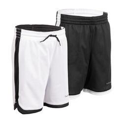 Kids' Reversible Basketball Shorts SH500R - Black/White