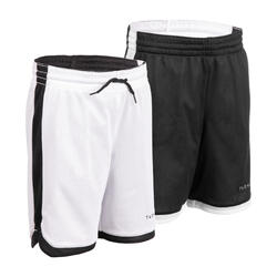 兒童款雙面籃球短褲SH500R - 黑白配色