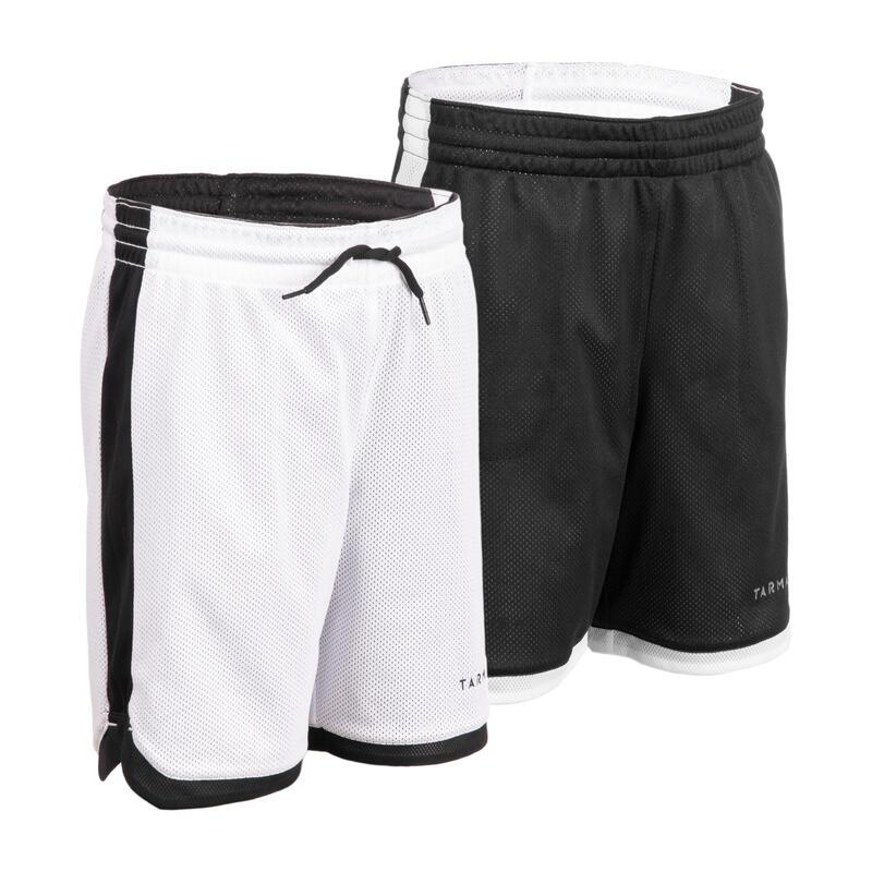 Dětské basketbalové oboustranné kraťasy černo-bílé