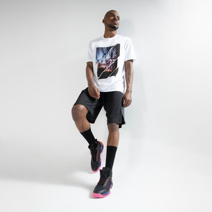 男款籃球T恤/運動衫Fast TS500-白色照片