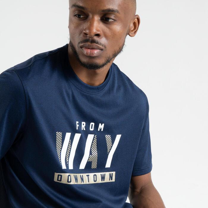 男款籃球T恤/運動衫Fast TS500 - 深藍色Downtown