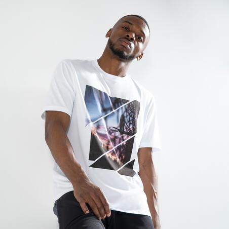 """Vīriešu basketbola T krekls/sporta krekls """"TS500 Fast"""", balts ar attēliem"""