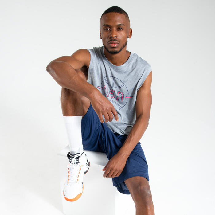 Basketballshirt Trikot ärmellos TS500 Herren USA grau