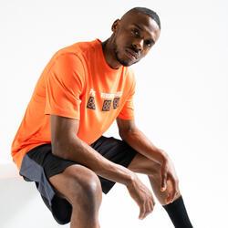 男款籃球T恤/運動衫Fast TS500 - 橘色Stats
