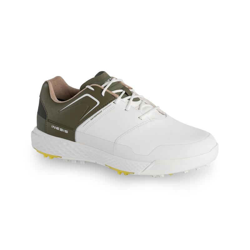 CHAUSSURES GOLF HOMME GRIP WATERPROOF BLANCHES ET KAKHI