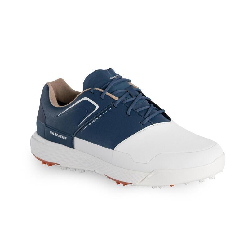 Golfschoenen voor heren Grip Waterproof wit en blauw