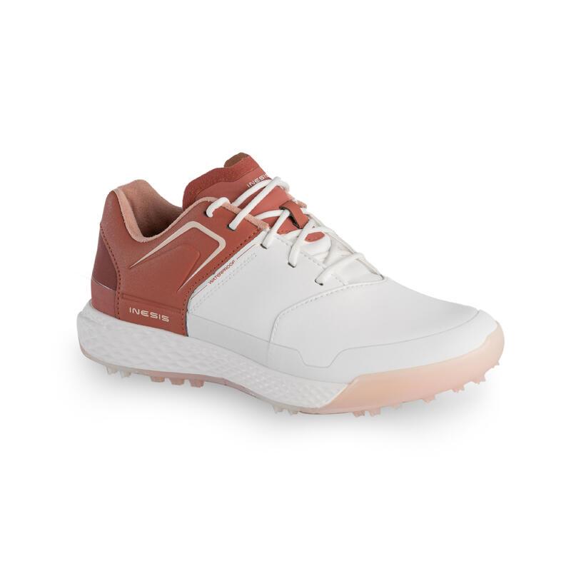Dámské golfové nepromokavé boty Grip bílo-cihlové