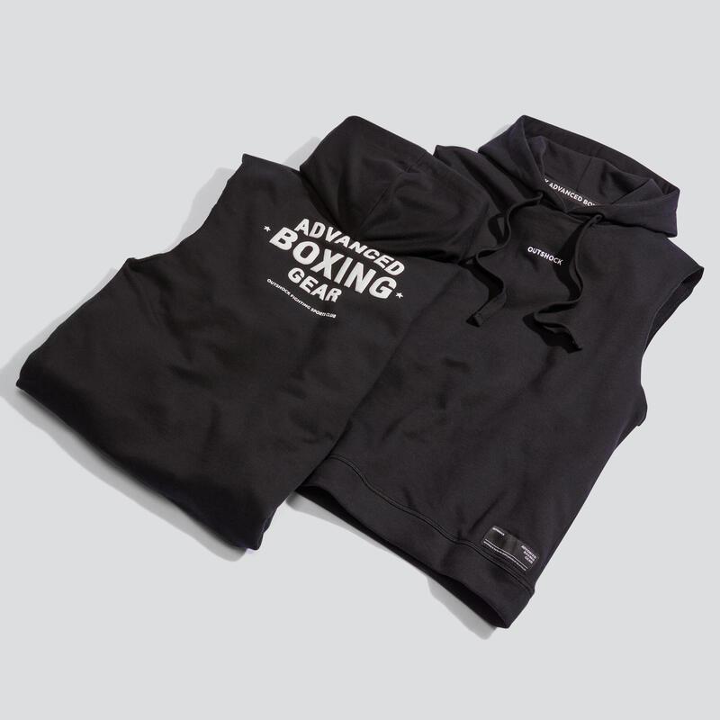 Mouwloze hoodie voor boksen zwart