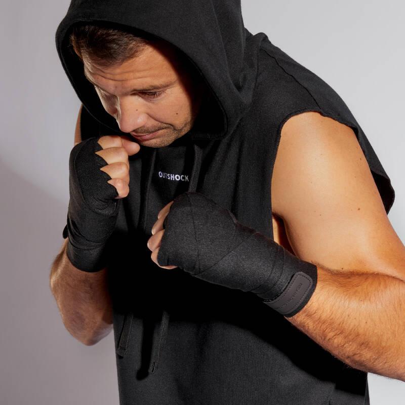 BOXERSKÉ OBLEČENÍ Box a kickbox - TÍLKO S KAPUCÍ NA BOX ČERNÉ OUTSHOCK - Boxerské boty a oblečení