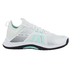 Calçado de Voleibol FIT para Praticantes Regulares Branco/Verde Menta