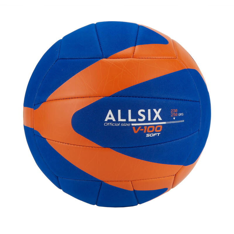 230-250 g Volleyball for 10- to -14-Year-Olds V100 Soft - Blue/Orange
