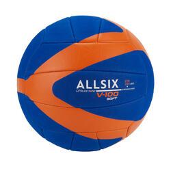 BALLON DE VOLLEY-BALL V100 SOFT 230-250G BLEU/ORANGE POUR LES 10-14 ANS