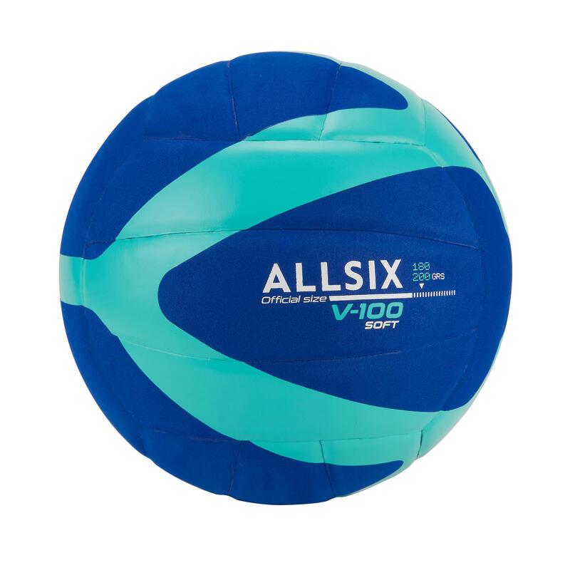 BALLON DE VOLLEY-BALL V100 SOFT 180-200G BLEU POUR LES 4-5 ANS