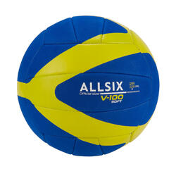 200-220 g Volleyball for 6- to 9-Year-Olds V100 Soft - Blue/Yellow