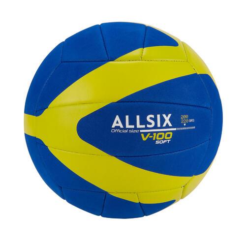 BALLON DE VOLLEY-BALL V100 SOFT 200-220G BLEU/JAUNE POUR LES 6-9 ANS