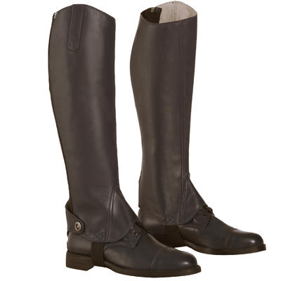 Paddock 700 Adult Horse Riding Leather Half Chaps - Brown