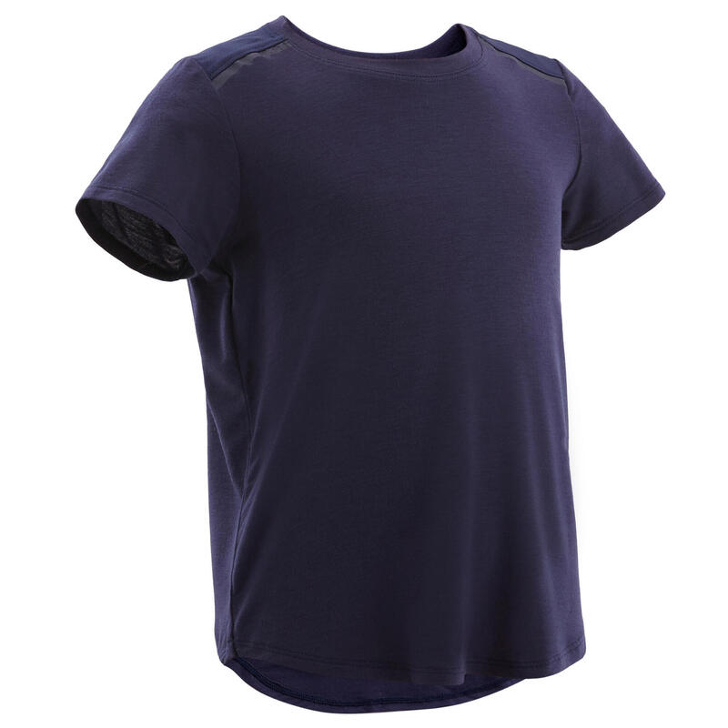 Ademend en licht T-shirt voor kleutergym marineblauw