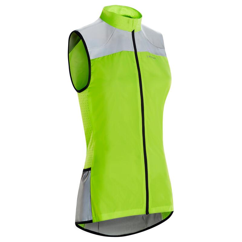 Women's Cycling Windbreaker Gilet EN1150 Standard - Yellow