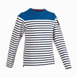 男童款長袖航海T恤Sailing 100-條紋藍色