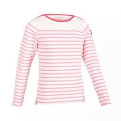 女童款長袖航海T恤100-紫紅色