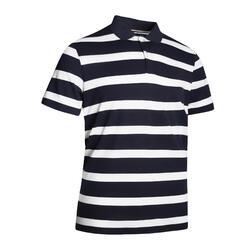 Men's golf short-sleeved polo shirt MW500 navy blue stripes