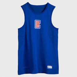Kids' Basketball Base Layer Top UT500 - Blue/NBA Los Angeles Clippers