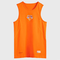 Boys'/Girls' Basketball Base Layer Top UT500 - Orange/NBA New York Knicks