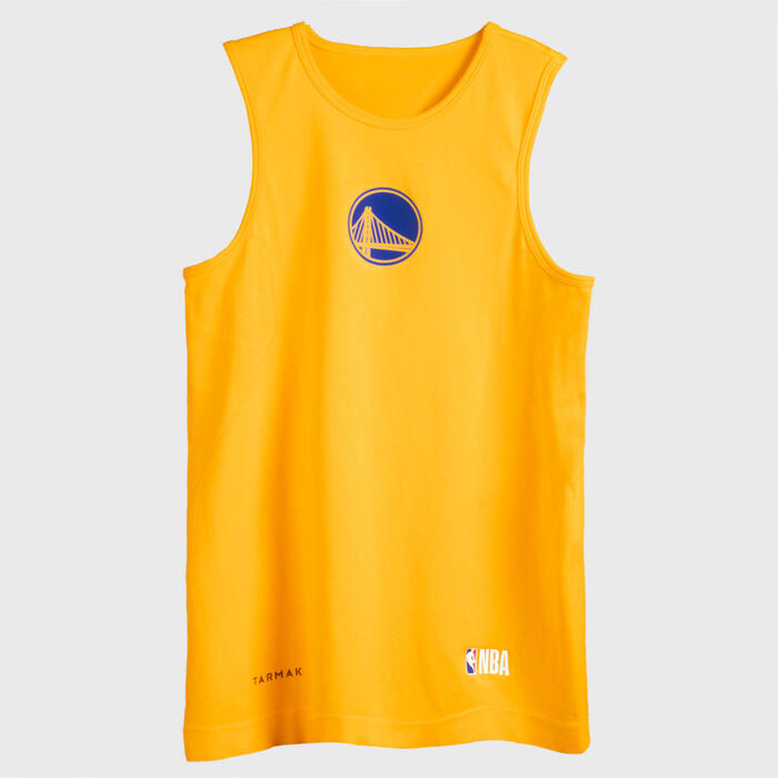 Boys'/Girls Basketball Base Layer Top UT500 - Yellow/NBA Golden State Warriors