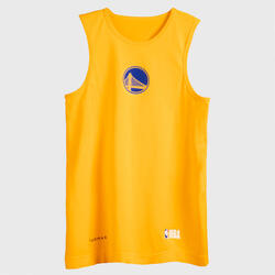 兒童款底層籃球背心UT500 - 黃色/NBA金州勇士隊