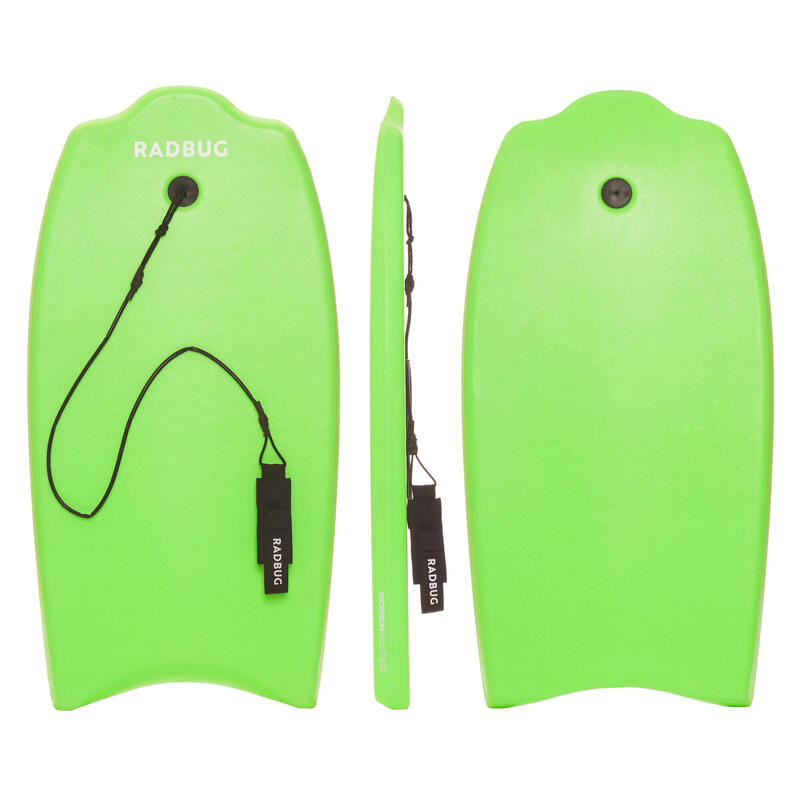 """Kids 35"""" entry-level 100 technical bodyboard with leash for 6-12 year-olds"""