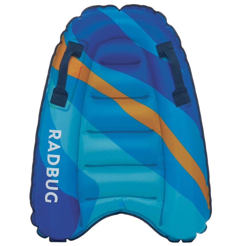 Kid's DISCOVERY inflatable bodyboard, 4 to 8 (15-25 kg)-camo, blue, yellow