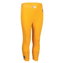 兒童款籃球緊身褲Capri - 黃色/NBA金州勇士隊
