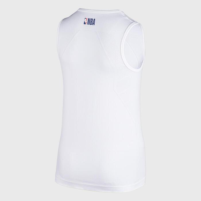 Camisola Térmica Basquetebol UT500 NBA BROOKLYN NETS Corte SLIM Criança Branco