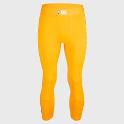 男款七分籃球緊身褲 - 黃色/NBA金州勇士隊