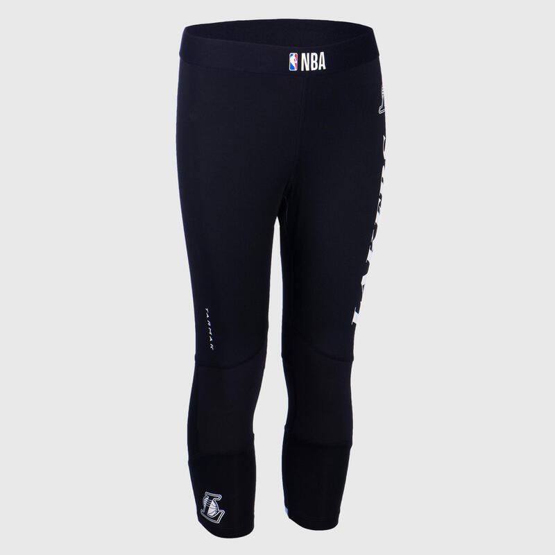 兒童款籃球緊身褲Capri - 黑色/NBA洛杉磯快艇隊