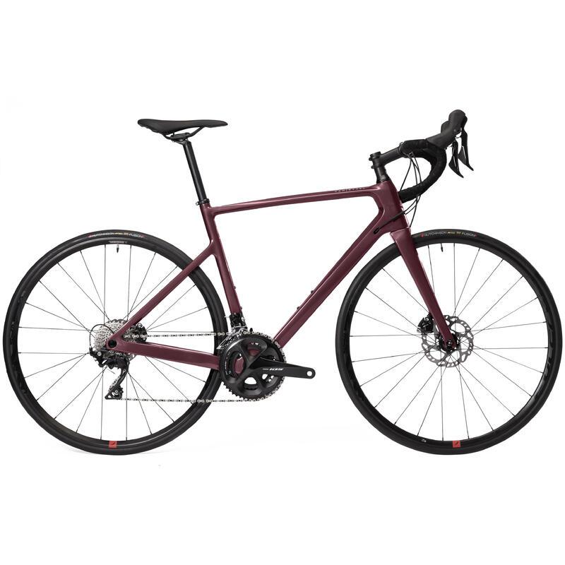 Vélo route femme EDR carbone Disc shimano 105 bordeaux