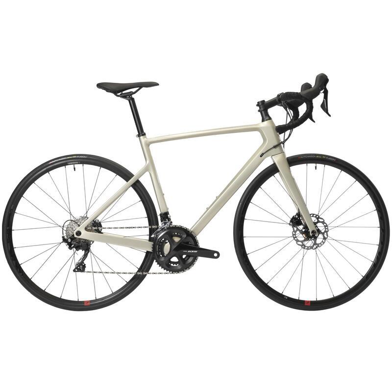 Vélo route femme EDR carbone Disc shimano 105 beige